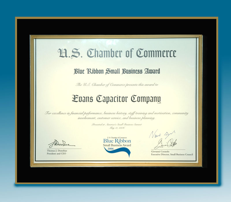 Evans Capacitor Company Blue Ribbon Award from U.S. Chamber of Commerce